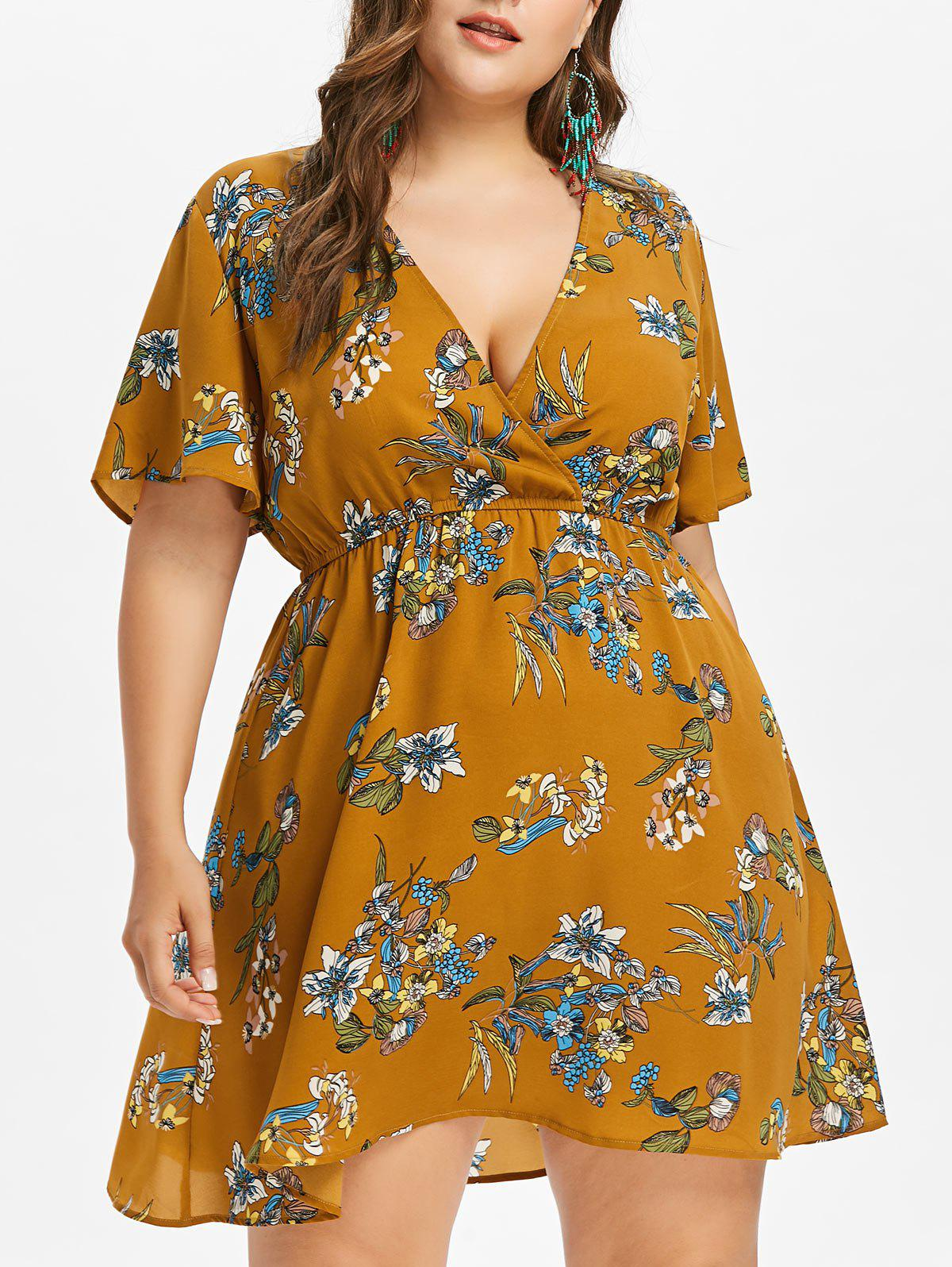 Online Plus Size Print Low Cut Surplice Dress