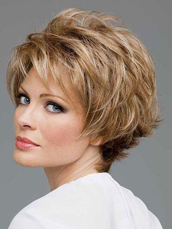 Cheap Short Side Bang Colormix Natural Straight Synthetic Wig