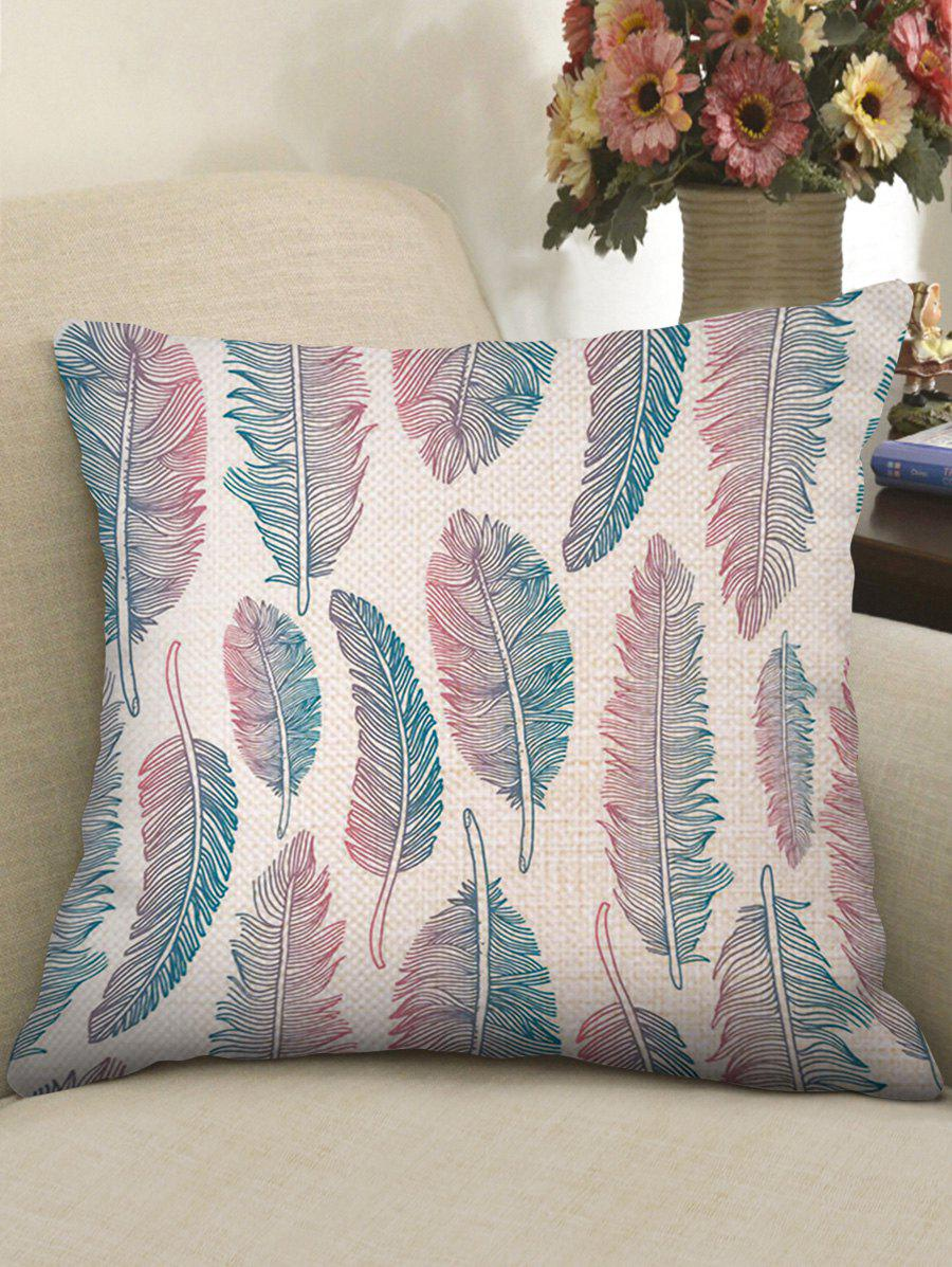 Latest Ombre Feathers Print Decorative Linen Sofa Pillowcase