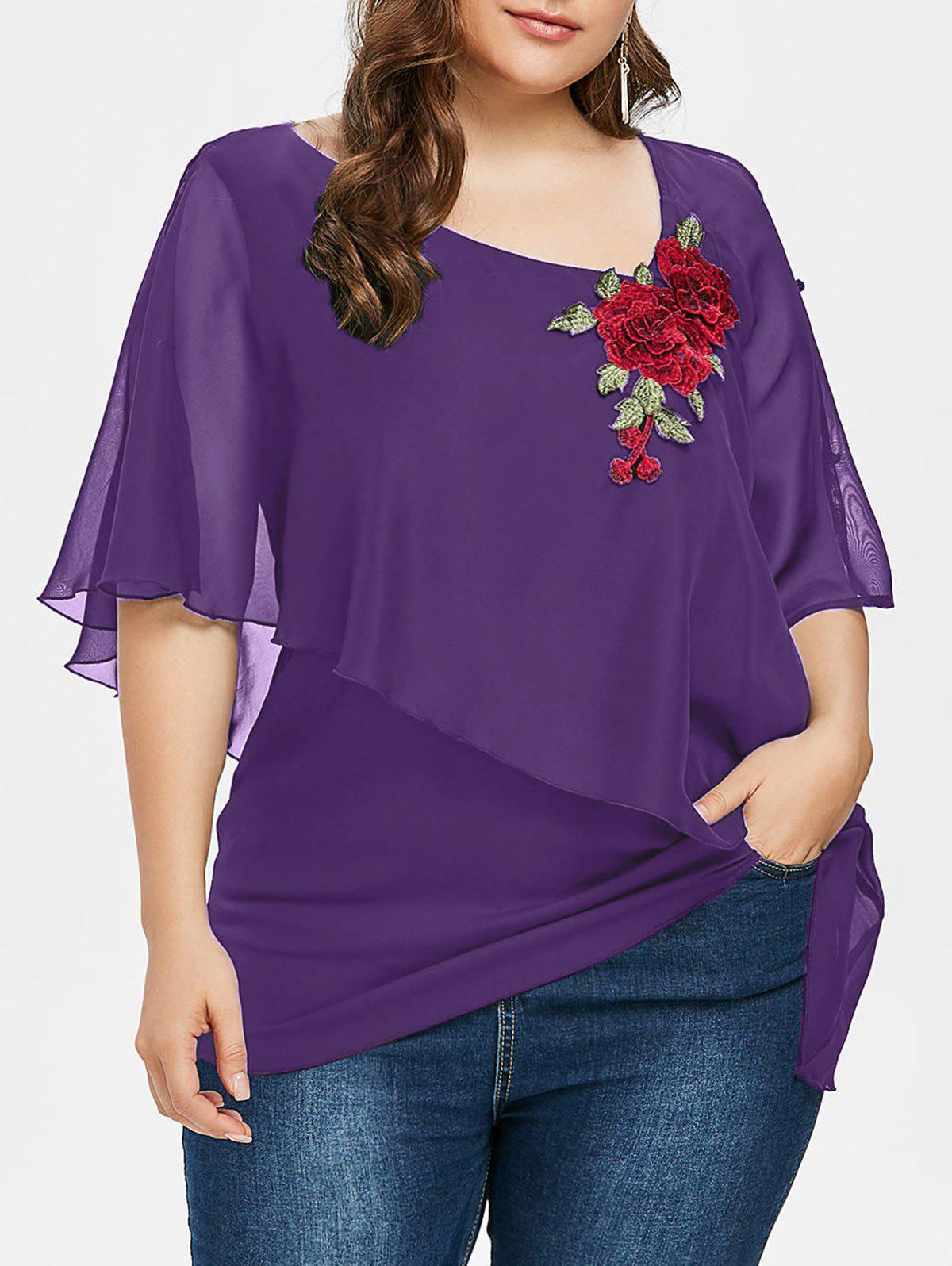 Cheap Plus Size Skew Overlay Floral Appliqued T-shirt