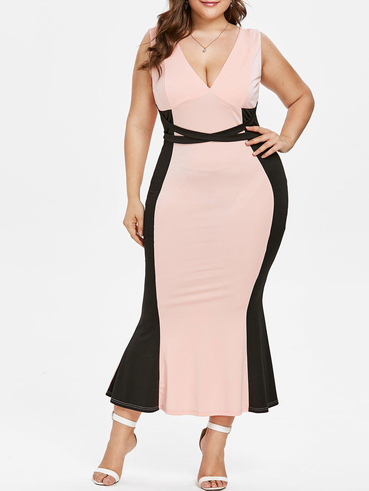Plus Size Plunging Neck Maxi Mermaid Dress