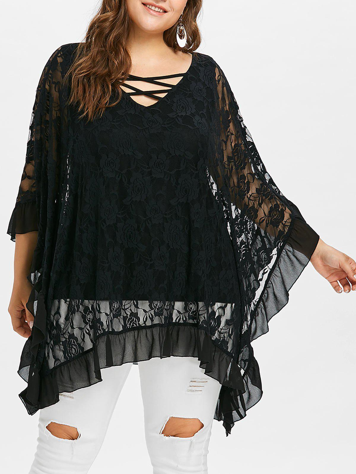 Fashion Plus Size V Neck Butterfly Sleeve Blouse