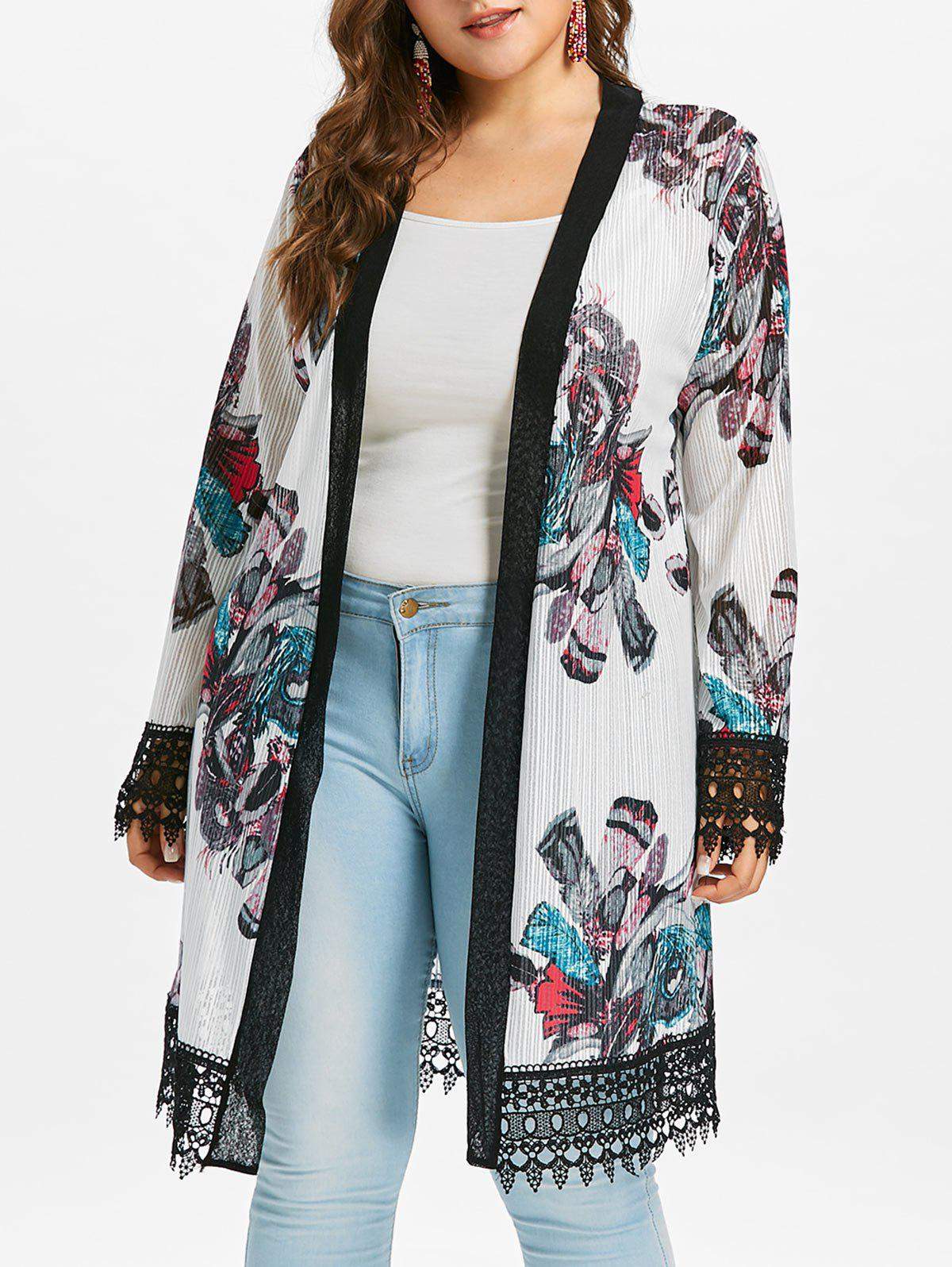 Online Plus Size Lace Crochet Print Coat