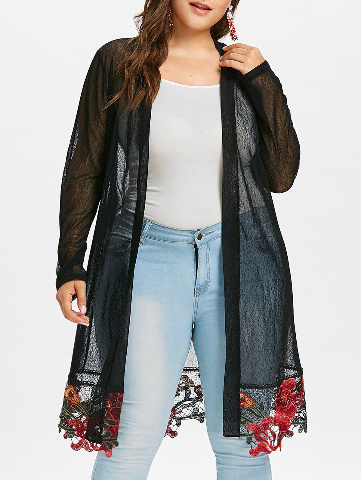 Outfit Plus Size Sheer Long Embroidered Coat