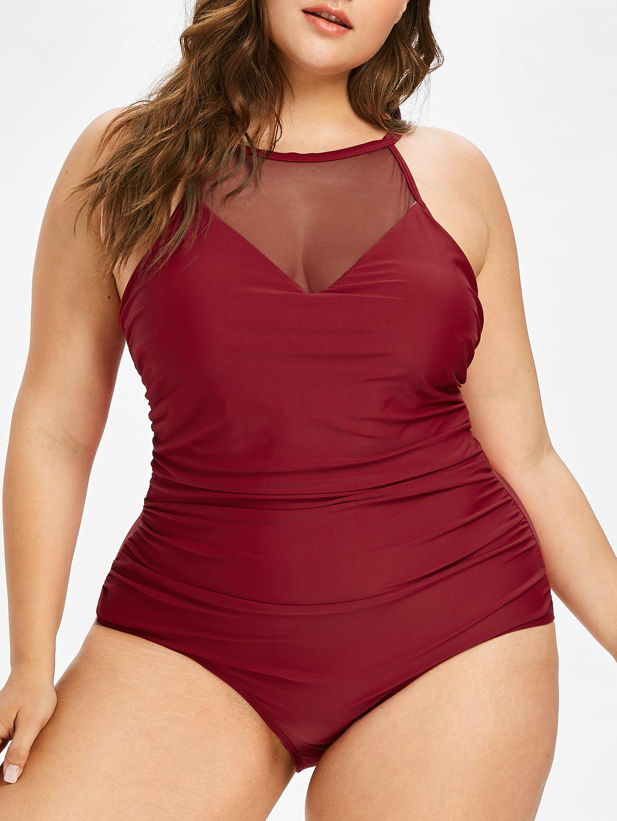 Shop Plus Size Mesh Insert Ruched Swimsuit