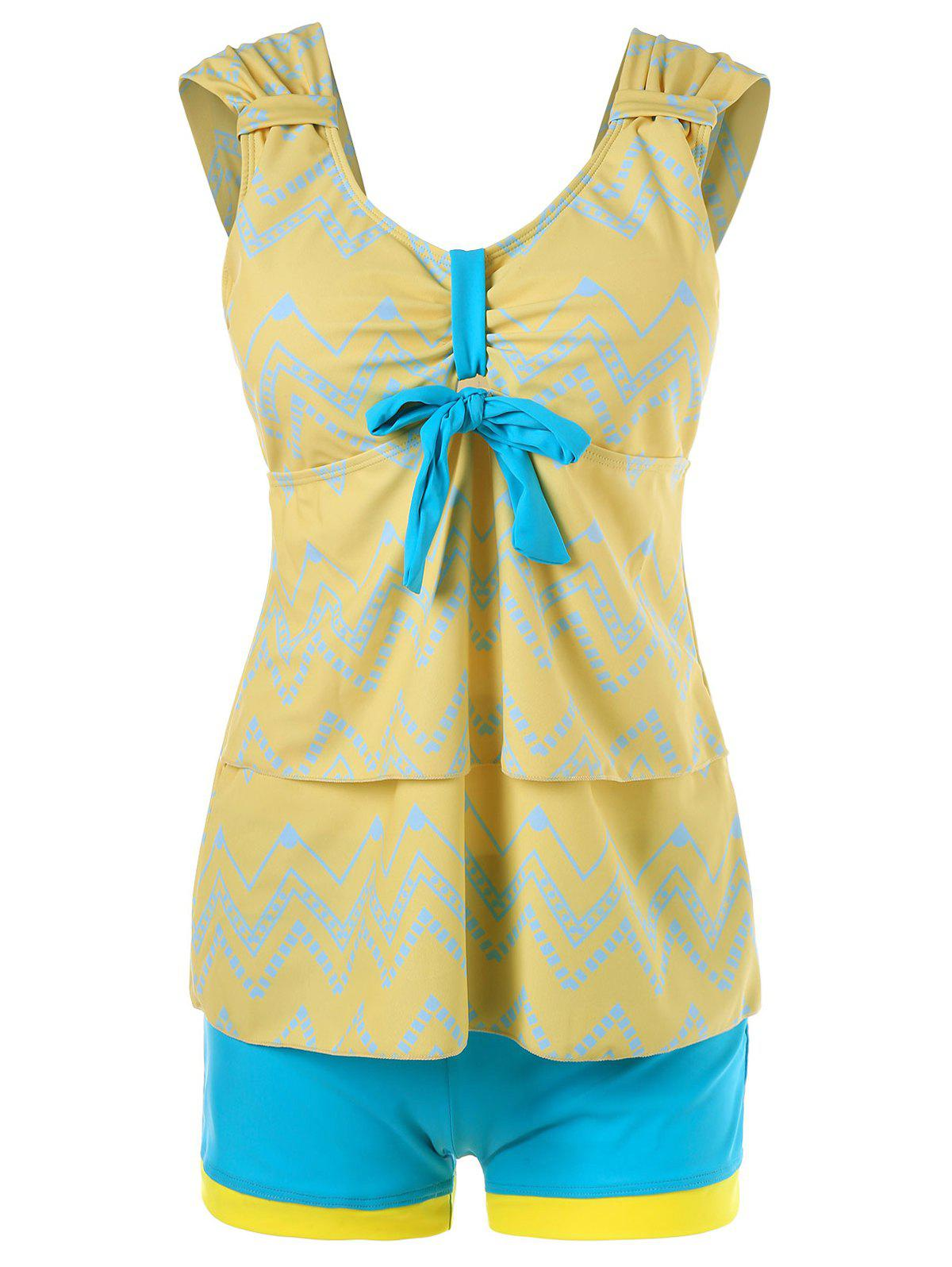 New Chevron Bowknot Sweetheart Tankini Swimwear
