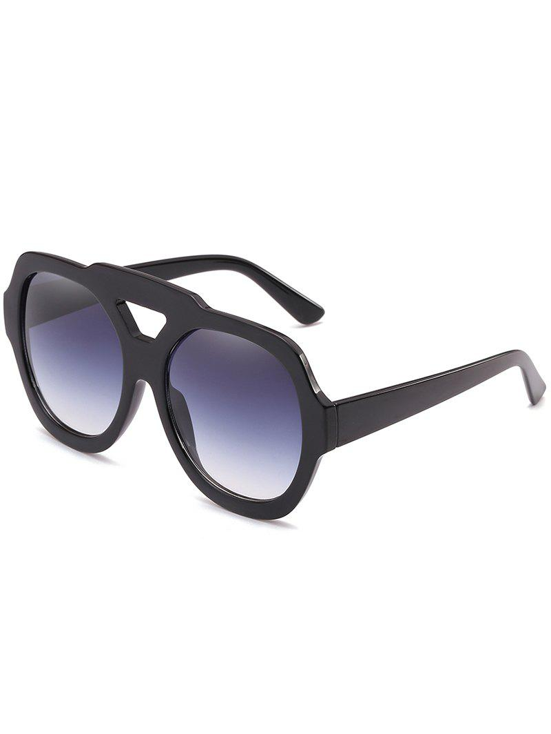 Trendy Hollow Out Frame Two Tone Oversized Sunglasses