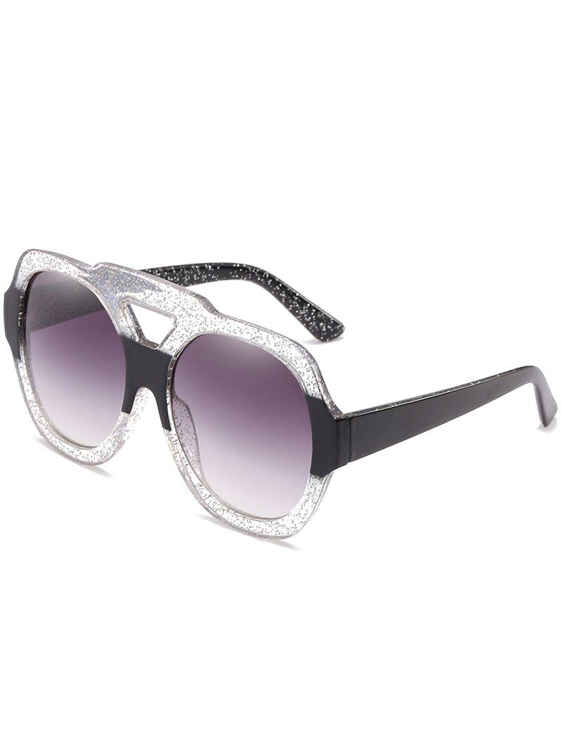 Outfit Hollow Out Frame Two Tone Oversized Sunglasses