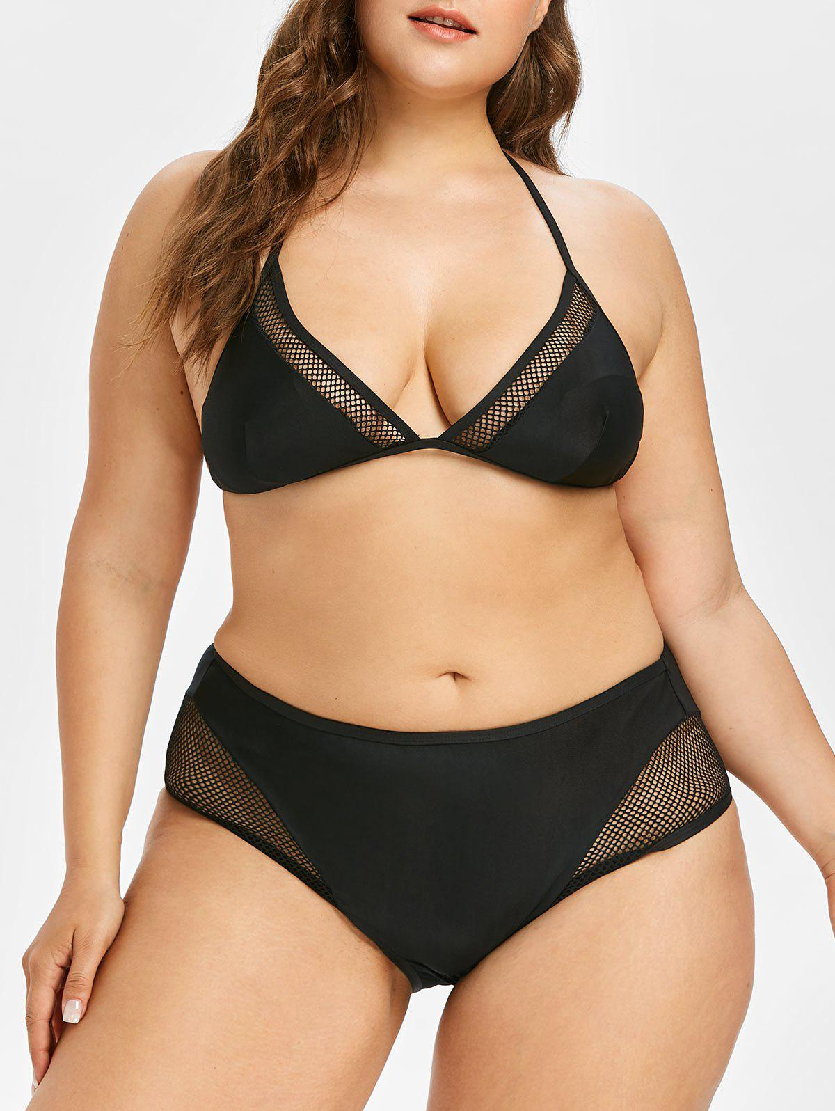 Sale Plus Size Fishnet Bikini Set