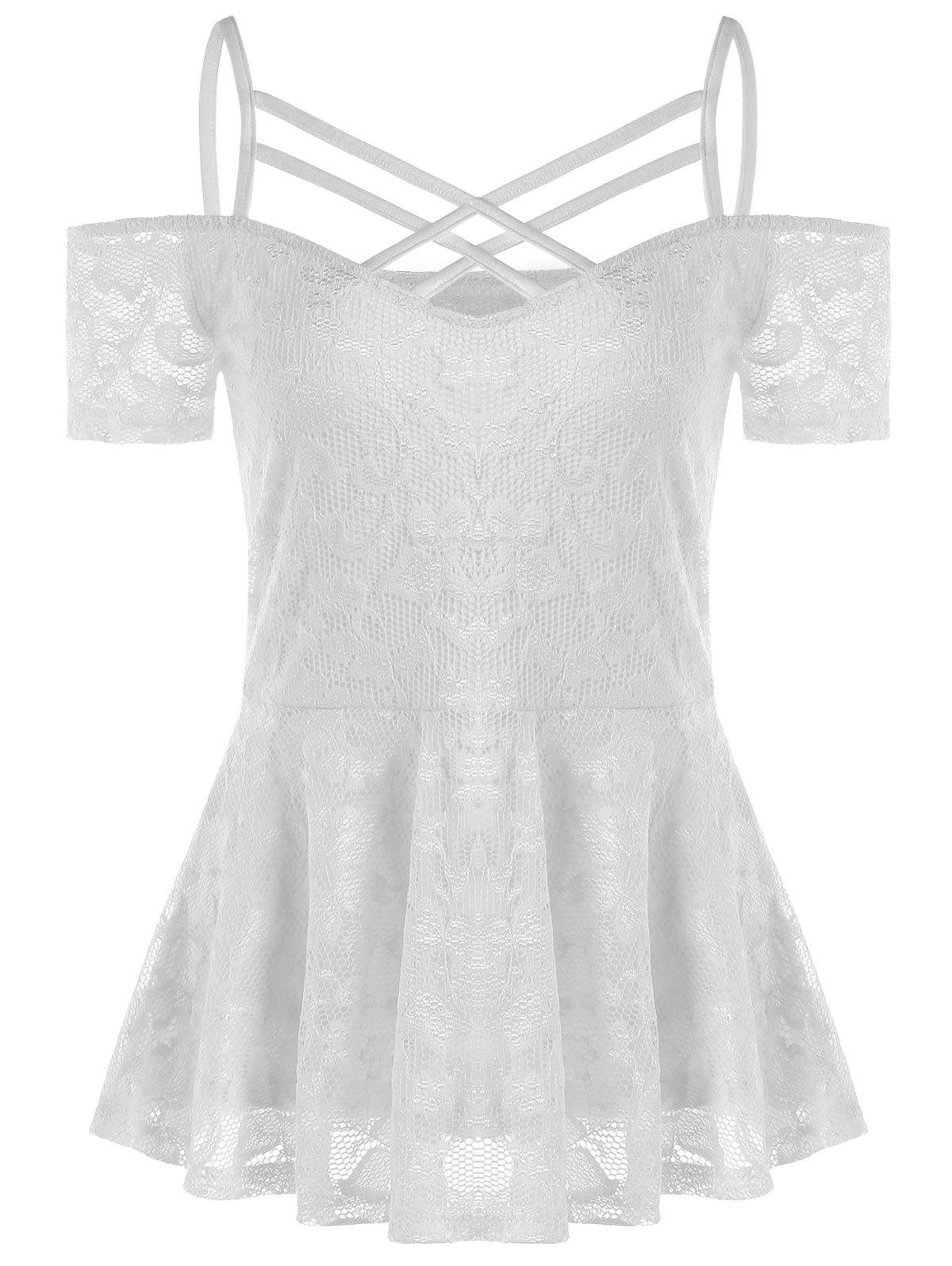Online Cold Shoulder Strappy Lace Smock Blouse