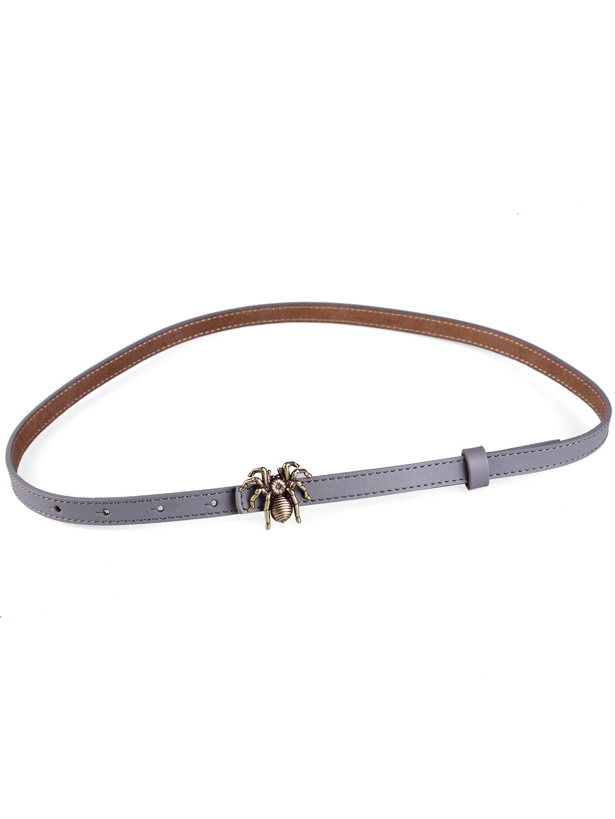 Shops Unique Spider Buckle Faux Leather Skinny Belt