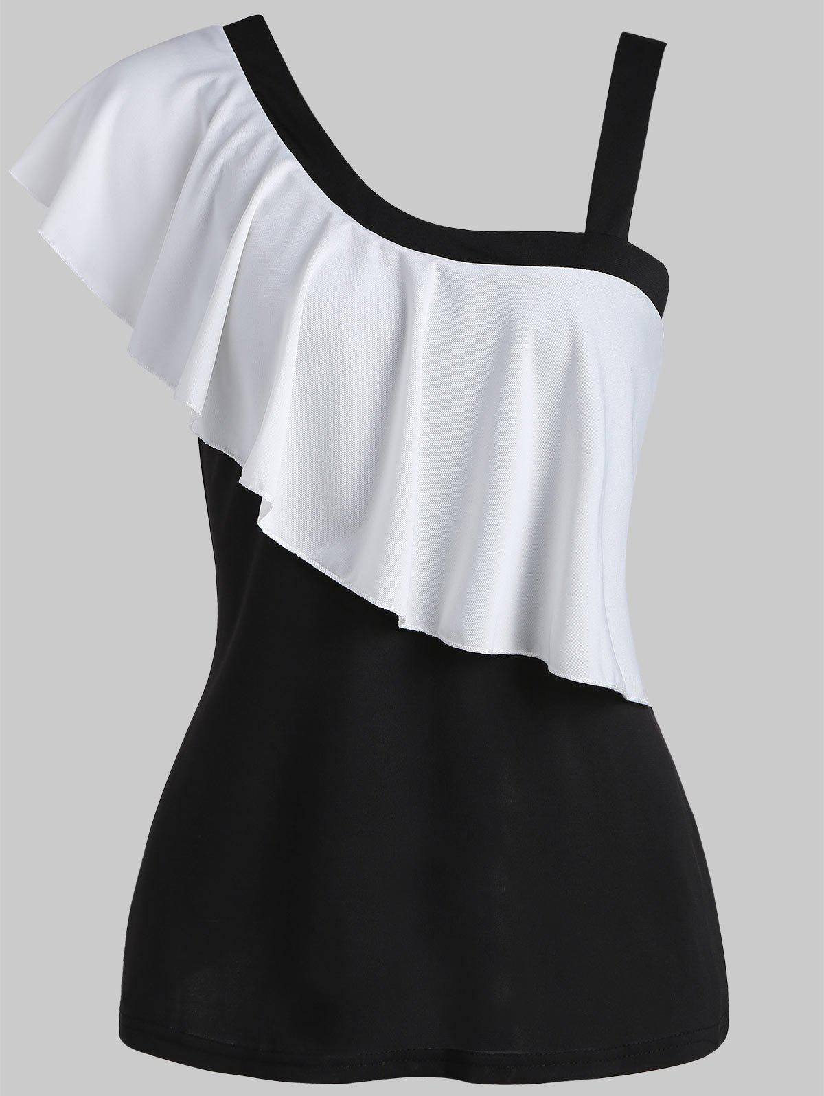 Cheap Color Block Flounce T-shirt