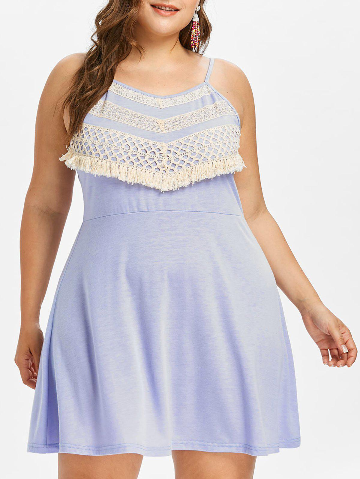 Sale Plus Size Crochet Lace Mini Slip Dress