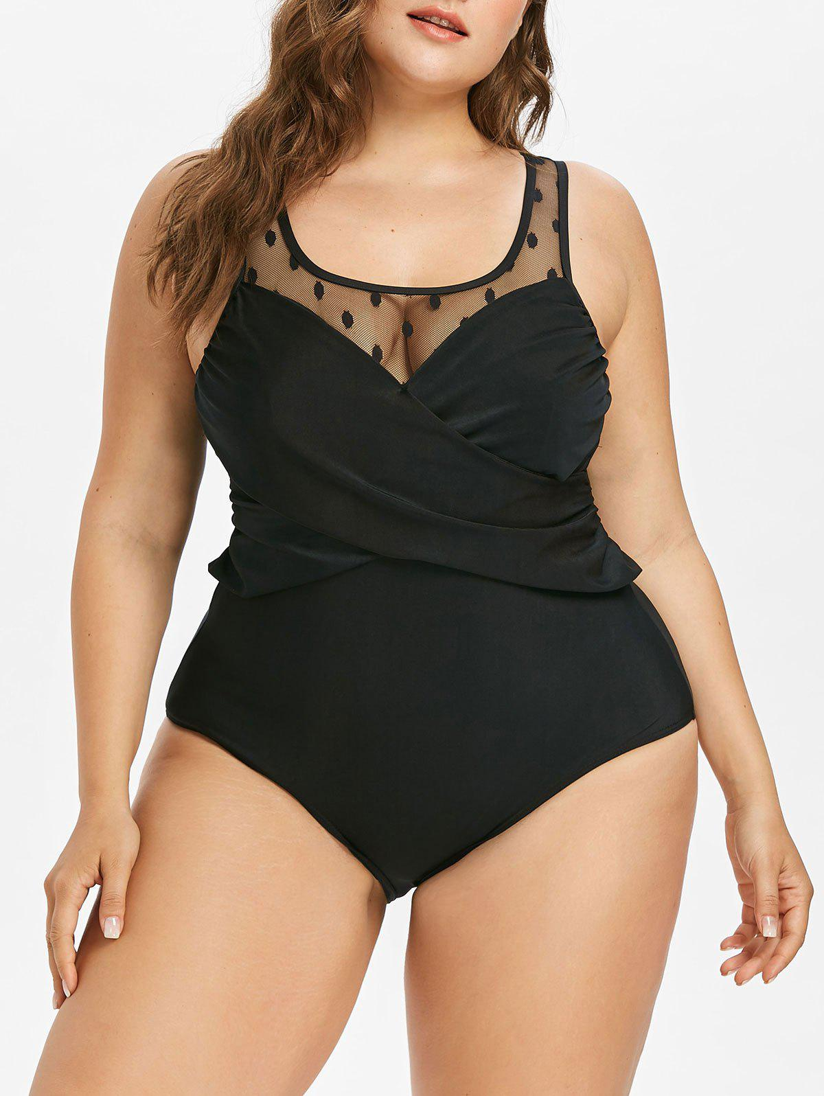 Chic Plus Size Mesh Insert Swimsuit