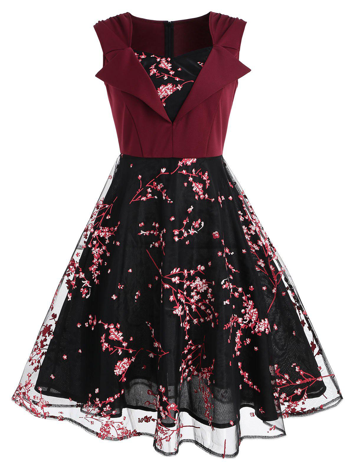 Outfits Bouquet Pattern Sleeveless Vintage Dress