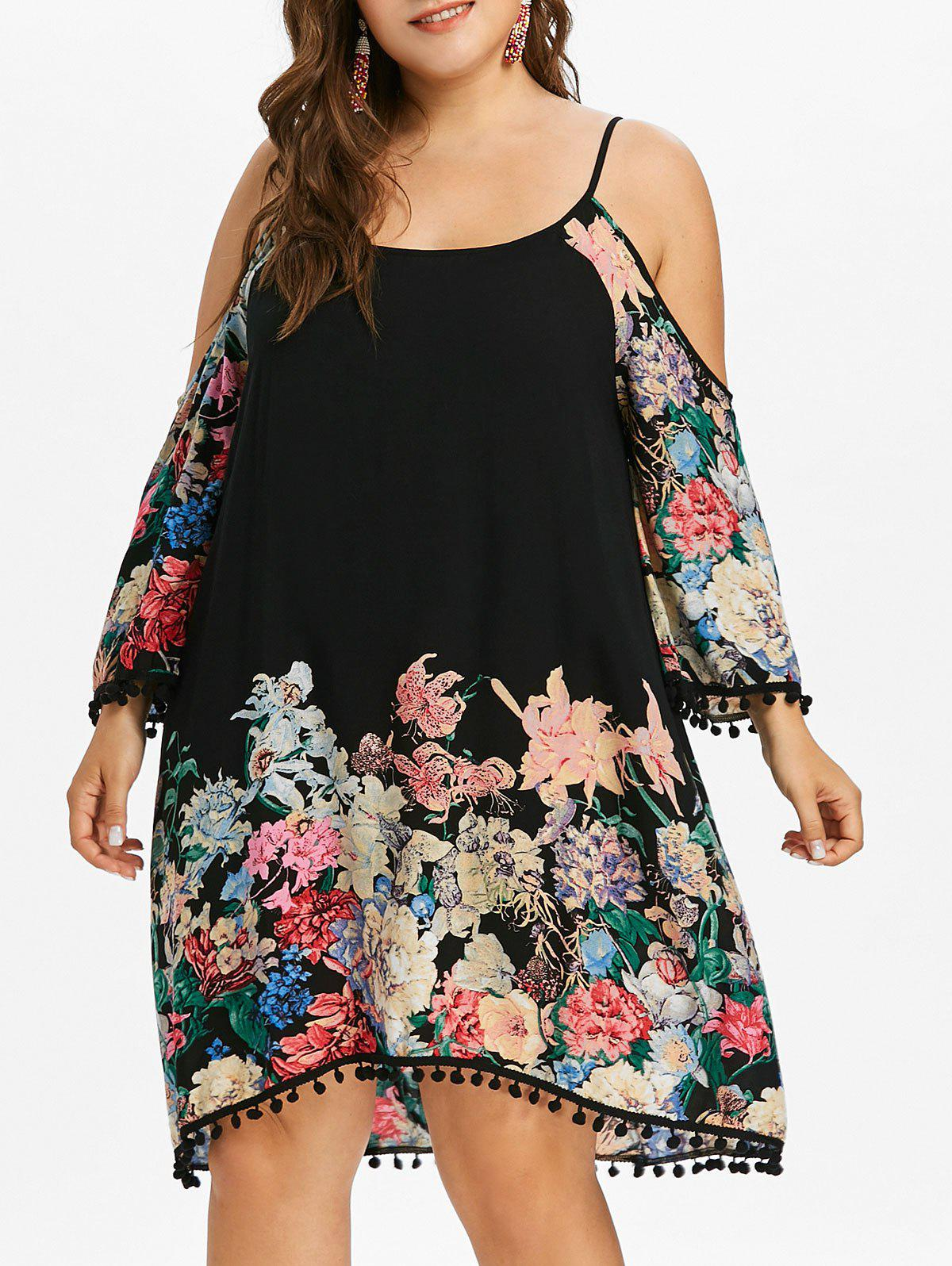 Fashion Plus Size Floral Knee Length Shift Dress