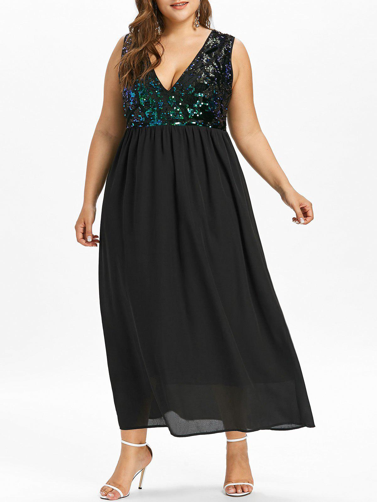 Discount Plus Size Low Cut Sparkly Maxi Flowing Dress