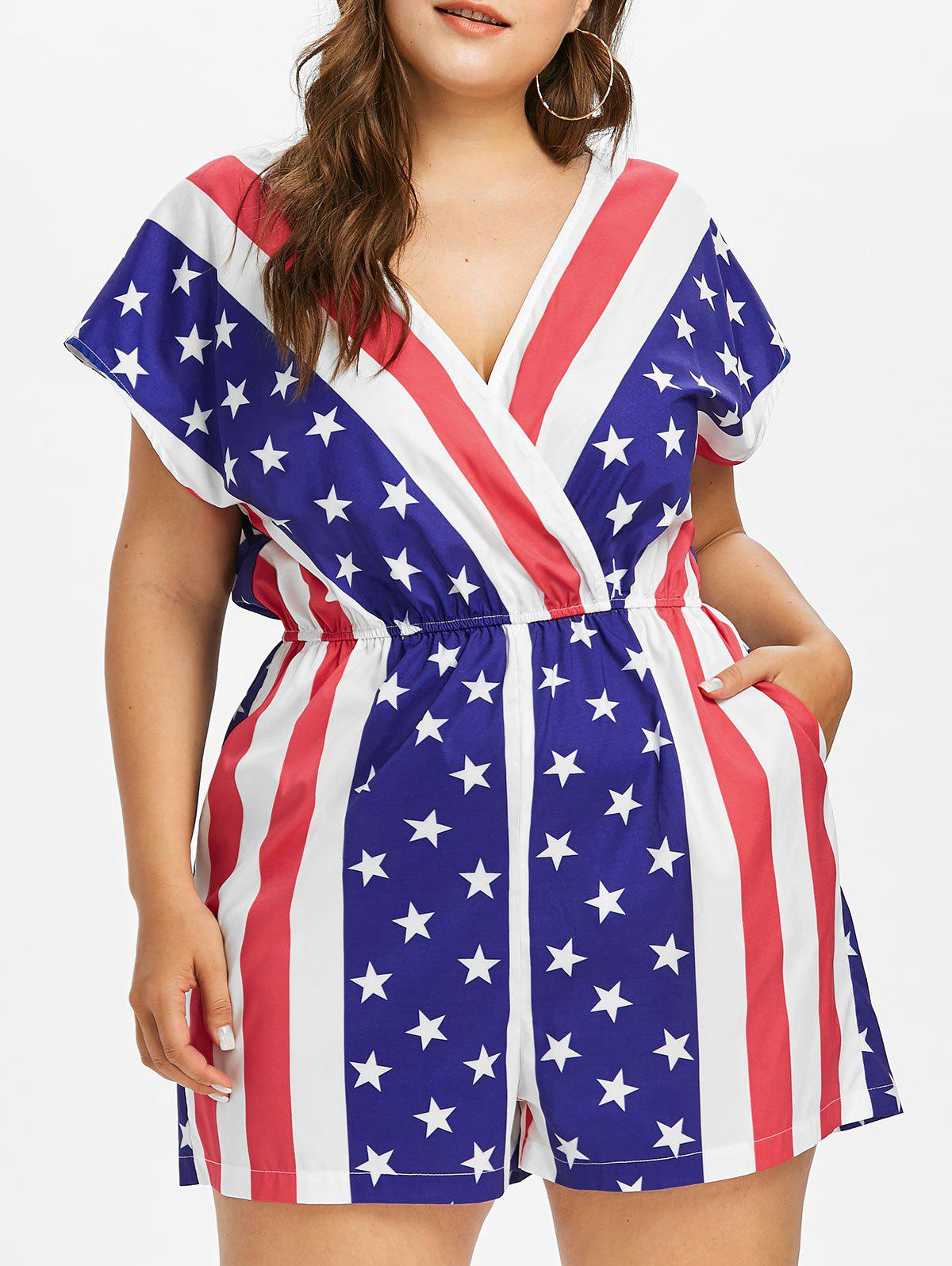 Fancy Plus Size American Flag Surplice Romper