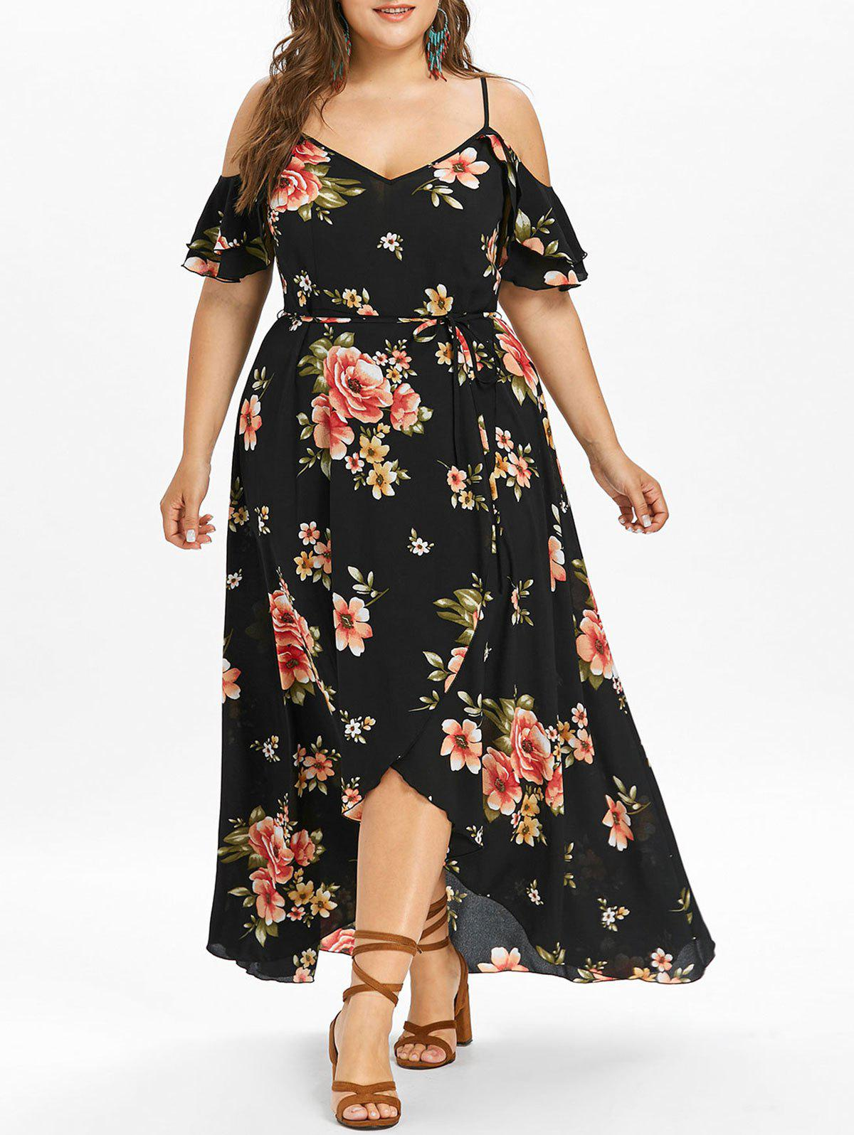 Shop Plus Size Hawaiian Cold Shoulder Maxi Dress
