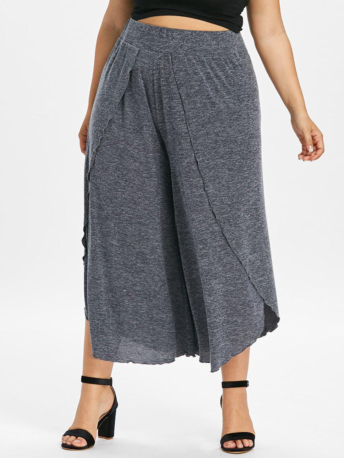 Cheap Plus Size Overlap Wide Leg Cropped Pants