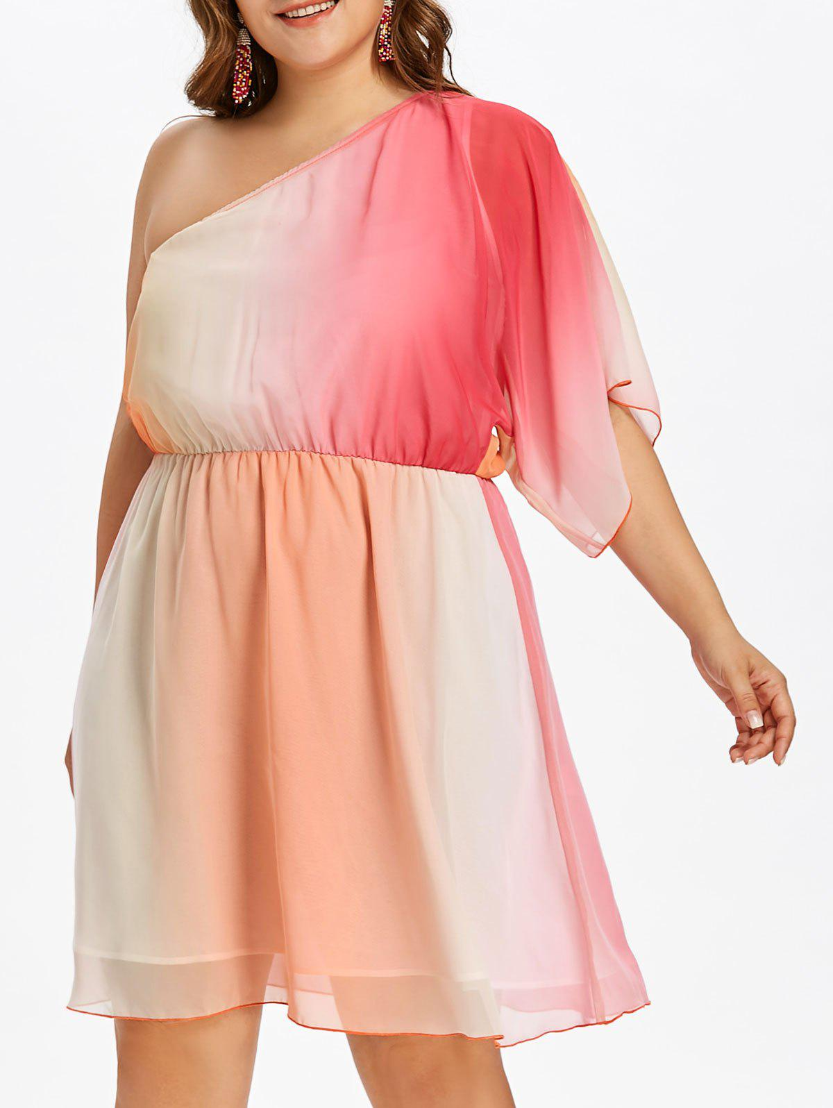 Sale Plus Size Ombre Print One Shoulder Dress
