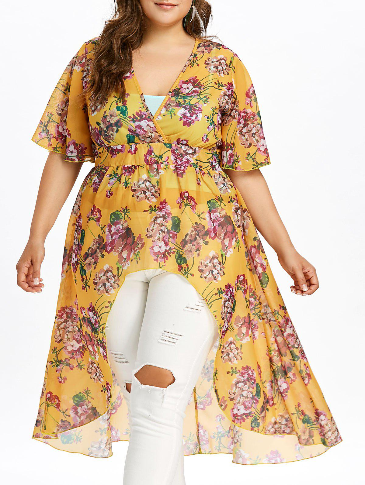 Shops Plus Size Floral High Low Blouse