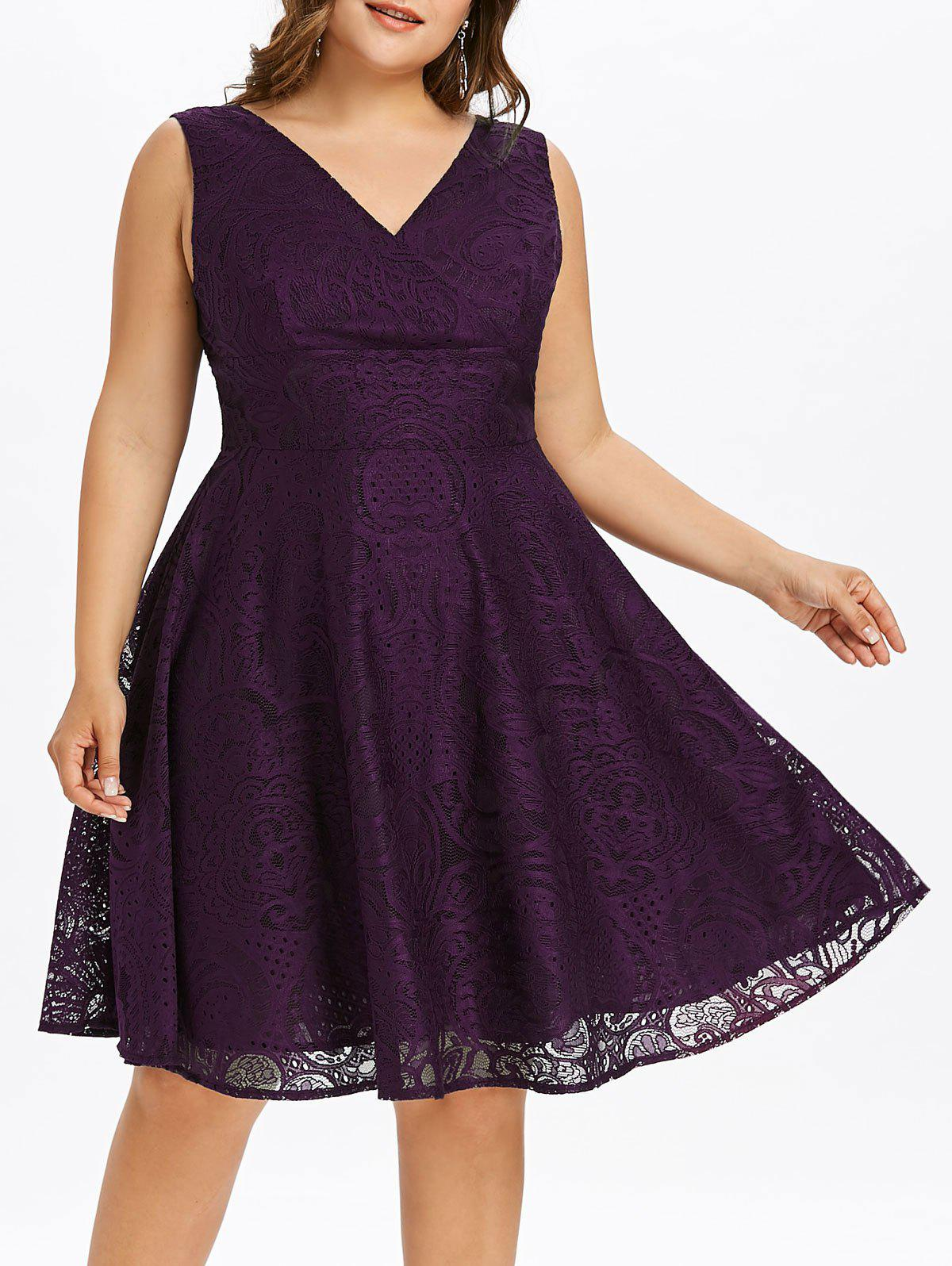Online Plus Size Lace Surplice Dress