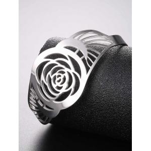 Vintage Hollow Out Floral Pattern Cuff Bracelet -