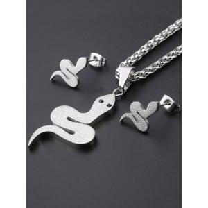 Cute Metal Snake Pendant Necklace and Earrings Set -