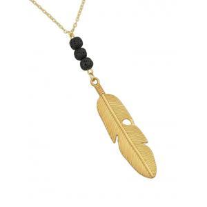 Feather Pendant Link Chain Charm Necklace -