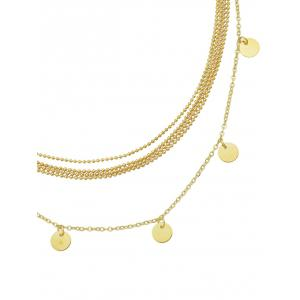 Discs Embellished Layered Beaded Necklace -