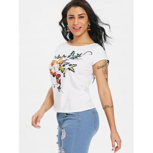 Ripped Butterfly Print Graphic Tee -