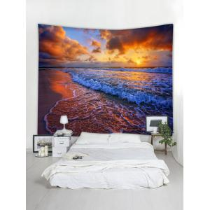 Seaside Sunset Waves Print Wall Art Tapestry -