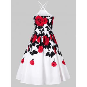 Floral Box Pleated 1950s Swing Dress -