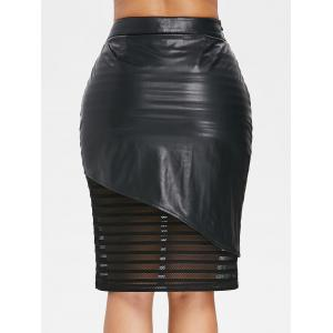 Mesh Trim Side Zip PU Leather Skirt -