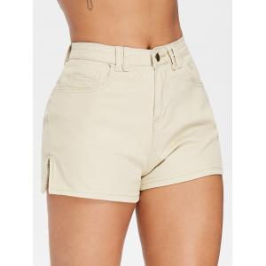 High Waisted Mini Shorts with Zipper -