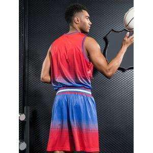 Breathable Contrast Color Quick Dry Basketball Jersey Sport Suit -