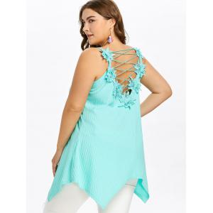 Plus Size Lace Up Ribbed Handkerchief Tank Top -