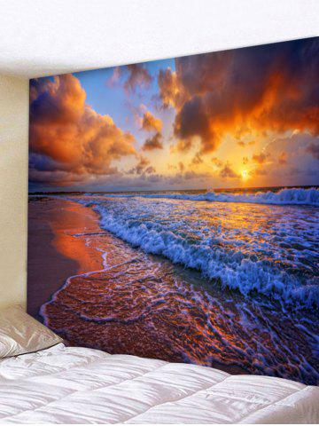 Online Seaside Sunset Waves Print Wall Art Tapestry