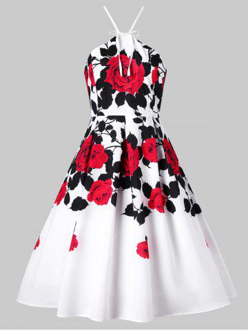 Outfits Floral Box Pleated 1950s Swing Dress