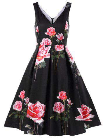 Floral Deep V-neck Vintage Swing Dress