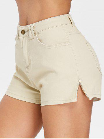 Online High Waisted Mini Shorts with Zipper