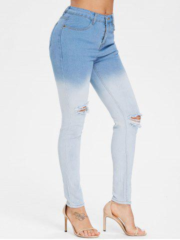 Cheap High Waisted Ombre Distressed Jeans