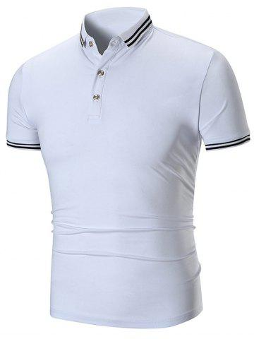 Outfit Contrast Color Stripe Trim Short Sleeve Polo T-shirt