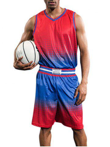 Hot Breathable Contrast Color Quick Dry Basketball Jersey Sport Suit