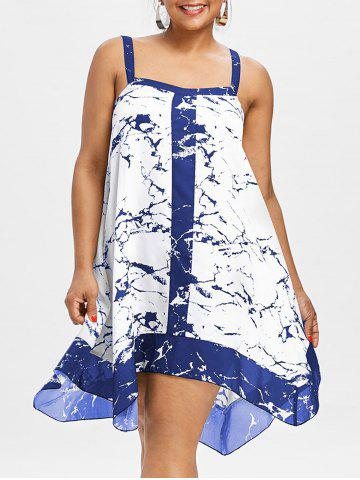 Fancy Plus Size Sleeveless Marble Print Dress
