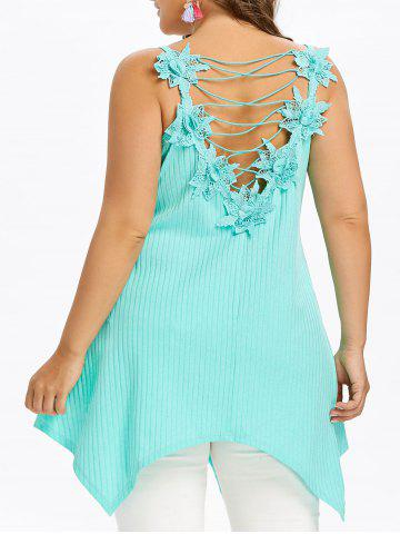 Chic Plus Size Lace Up Ribbed Handkerchief Tank Top
