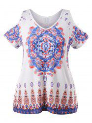 Plus Size Paisley Print Cold Shoulder T-shirt -
