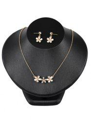 Rhinestone Floral Decorative Pendant Necklace and Earrings -