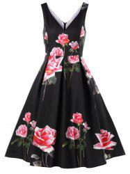 Floral Deep V-neck Vintage Swing Dress -